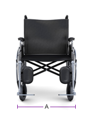 Figure 1 - Front view of wheelchair, text version available below.