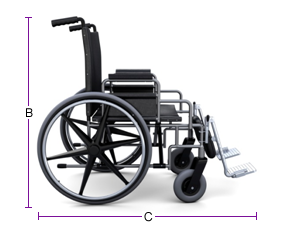 Figure 2 - Side view of wheelchair, text version available below.